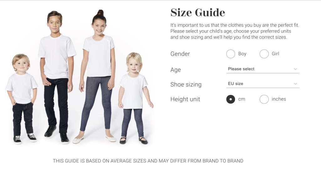 childrensalon size guide
