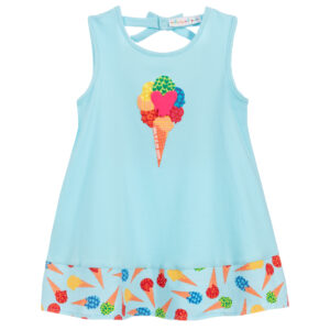 Agatha Ruiz de la Prada Blue Cotton Ice Cream Dress for little girls