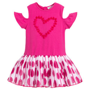 Agatha Ruiz de la Prada Girls Pink Cotton Dress with signature heart