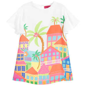 Agatha Ruiz de la Prada Girls White Dress with tropical house print