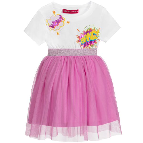 Agatha Ruiz de la Prada White & Pink Tulle Dress for Girls