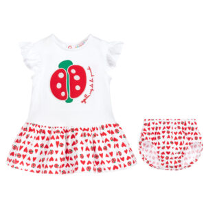 Agatha Ruiz de la Prada White & Red Cotton Dress for little girls 1