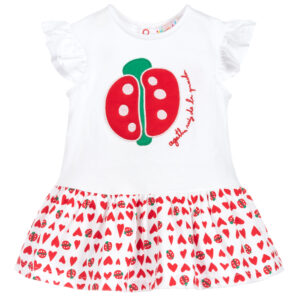 Agatha Ruiz de la Prada White & Red Cotton Dress for little girls