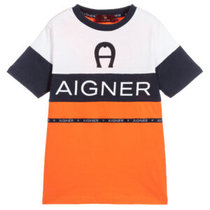 Aigner Kids Orange & Blue T-Shirt for boys