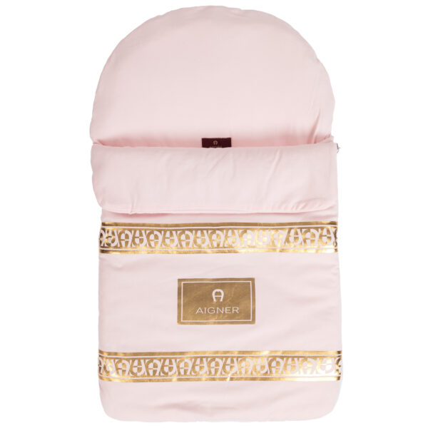 Aigner Kids Pink Baby Nest with Gold logo print (71cm) 2