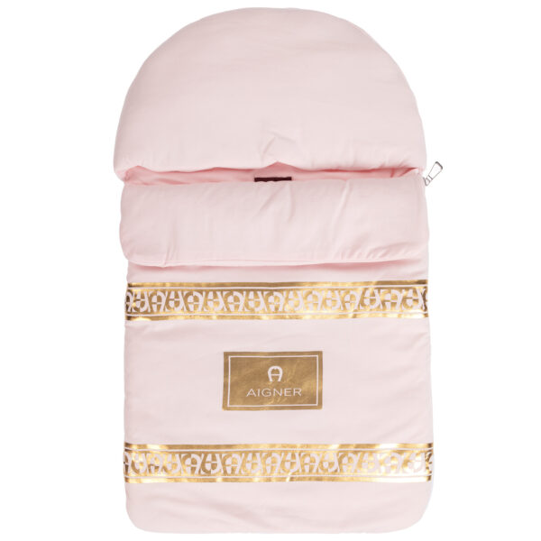 Aigner Kids Pink Baby Nest with Gold logo print (71cm)