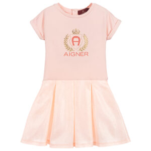Aigner Kids Pink Cotton & Satin Dress for girls