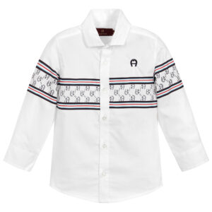 Aigner Kids White Cotton Logo Shirt for boys