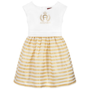 Aigner Kids White & Gold Cotton Dress for little princesses