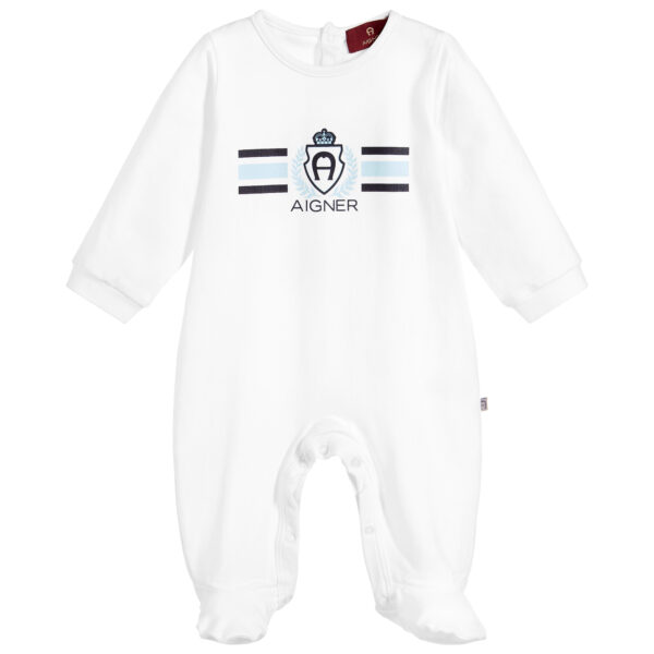 Aigner Kids White Pima Cotton Babygrow for children