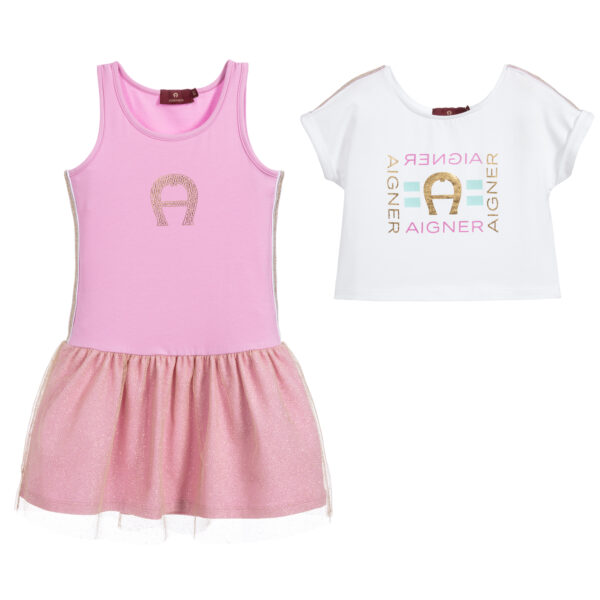 Aigner Kids White & Pink Dress & Top for beautiful princeses 1