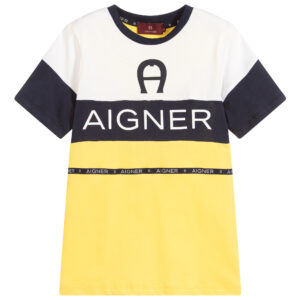 Aigner Kids Yellow & Blue Logo T-Shirt for boys