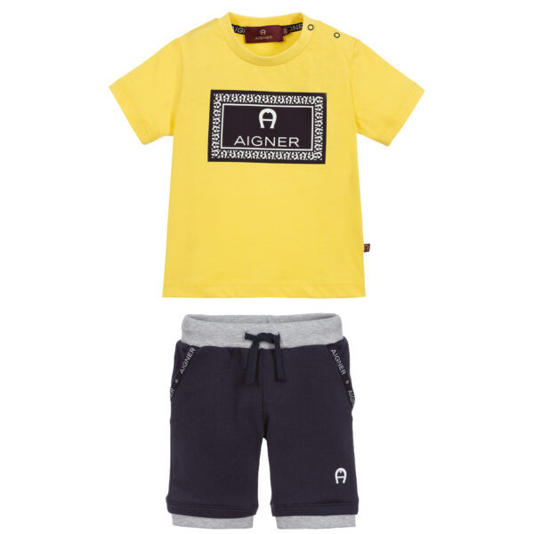 Aigner Kids Yellow & Blue Shorts suit for boys 1