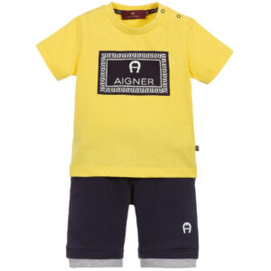 Aigner Kids Yellow & Blue Shorts suit for boys