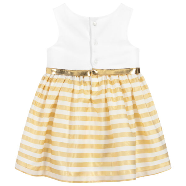 Aigner Kids white and gold striped dress for little girls 1
