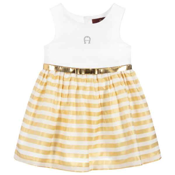 Aigner Kids white and gold striped dress for little girls