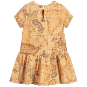 Alviero Martini Beige Geo Map print Dress for Girls 1
