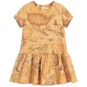 Alviero Martini Beige Geo Map print Dress for Girls