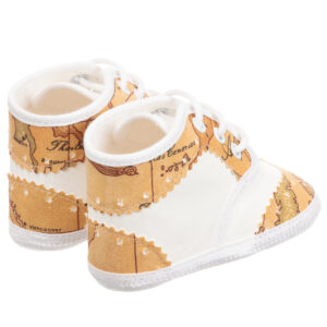 Alviero Martini Beige and White Geo Map Baby Shoes 1