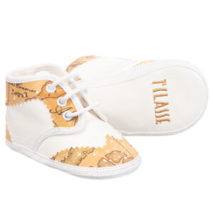 Alviero Martini Beige and White Geo Map Baby Shoes