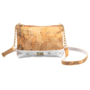 Alviero Martini Beige and White Geo Map Bag for girls (19cm)