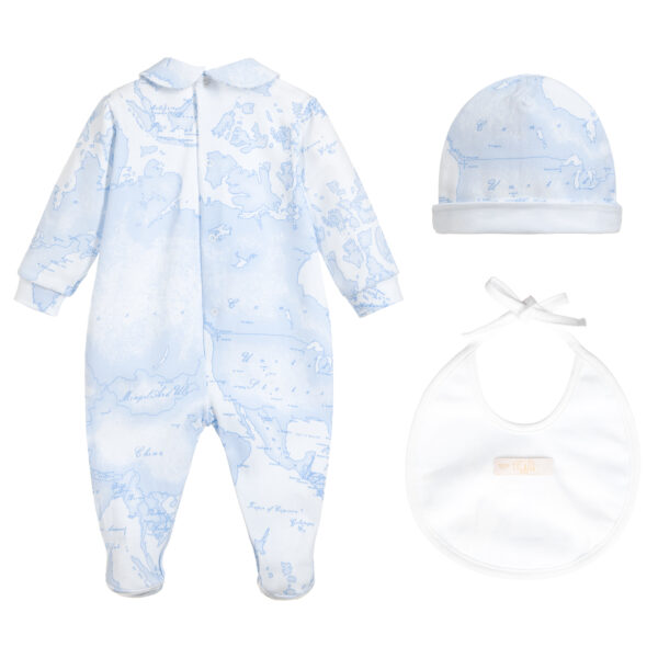 Alviero Martini Designer Blue Babysuit Set for little Boys 1