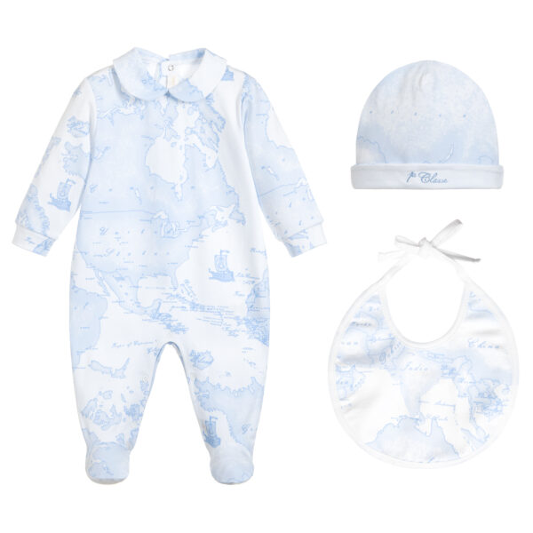 Alviero Martini Designer Blue Babysuit Set for little Boys