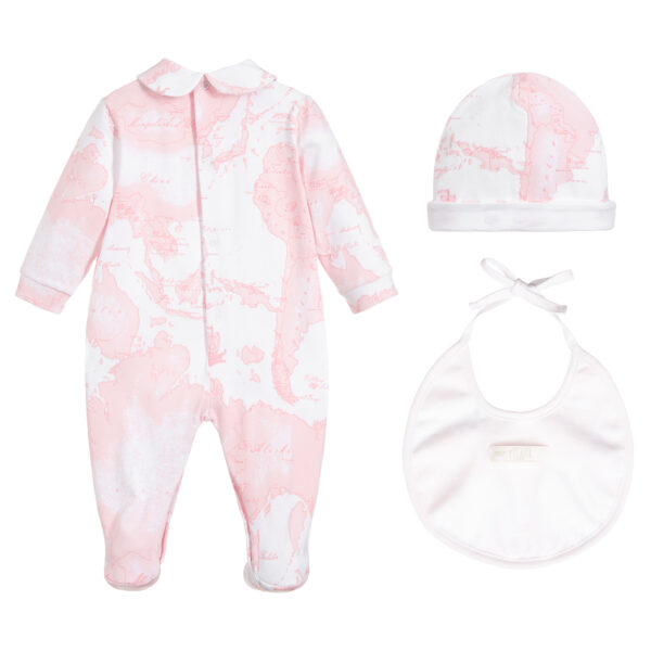 Alviero Martini Designer Pink Babygrow Set for little Girls 1
