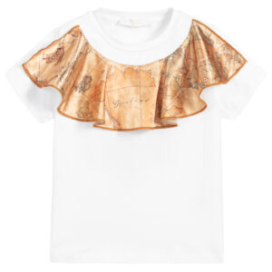 Alviero Martini Designer White Geo Map T-Shirt for Girls