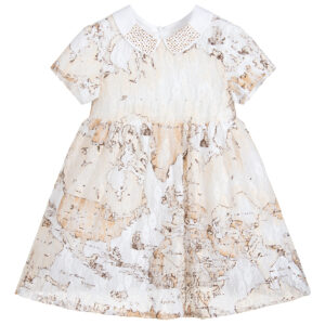 Alviero Martini Girls Geo map print dress and gold studdded collar details
