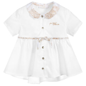 Alviero Martini White Cotton Geo Map Blouse for little girls