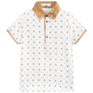 Alviero Martini White Geo Map Polo Shirt for young boys