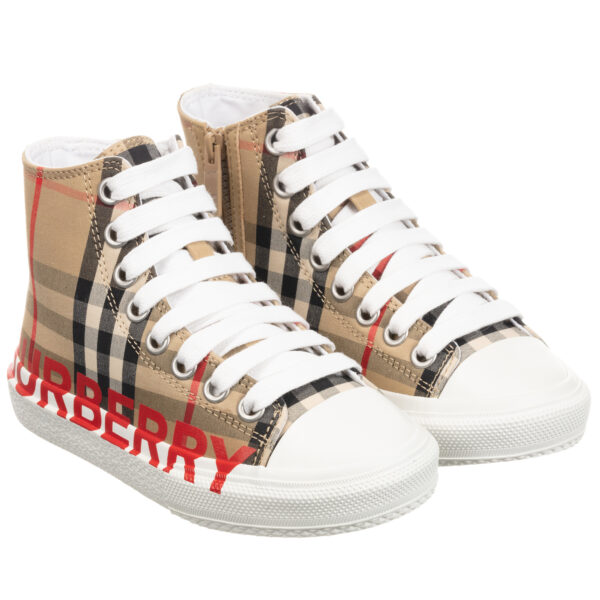 Burberry High-Top Check Trainers for girls and boys