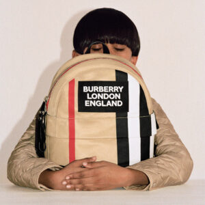 Burberry beige backpack for children with a logo (30cm) 1