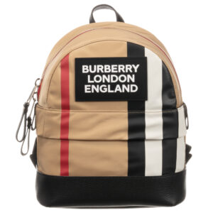 Burberry beige backpack for children with a logo (30cm)
