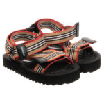 Burberry beige sandals for boys in black and white stripes