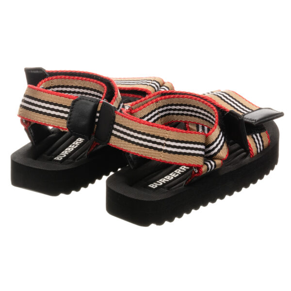 Burberry beige sandals for boys in black and white stripes 2