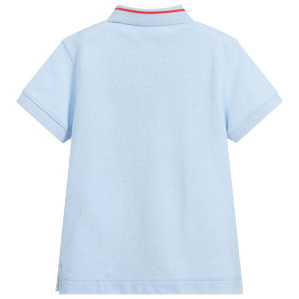 Burberry light blue logo polo shirt for boys with short sleeves 1