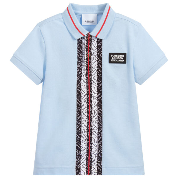 Burberry light blue logo polo shirt for boys with short sleeves