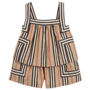 Burberry lightweight cotton girls striped playsuit