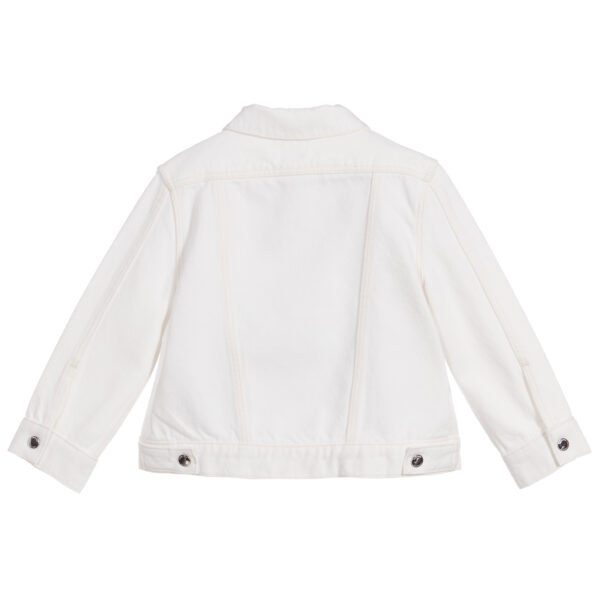 Burberry white jacket for girls with a logo 2