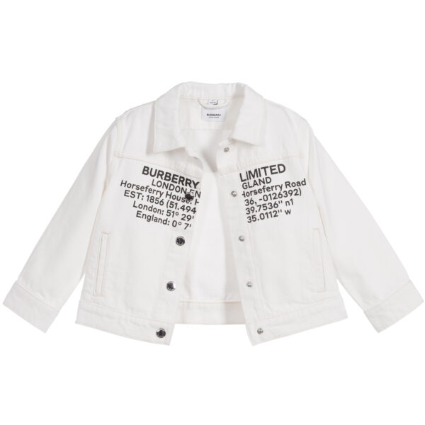 Burberry white jacket for girls with a logo 3