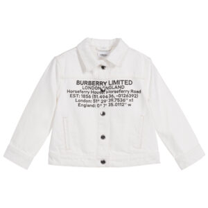 Burberry white jacket for girls with a logo