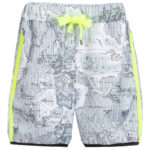 Alviero Martini Boys Gray Geo Map Shorts with Green Stripes