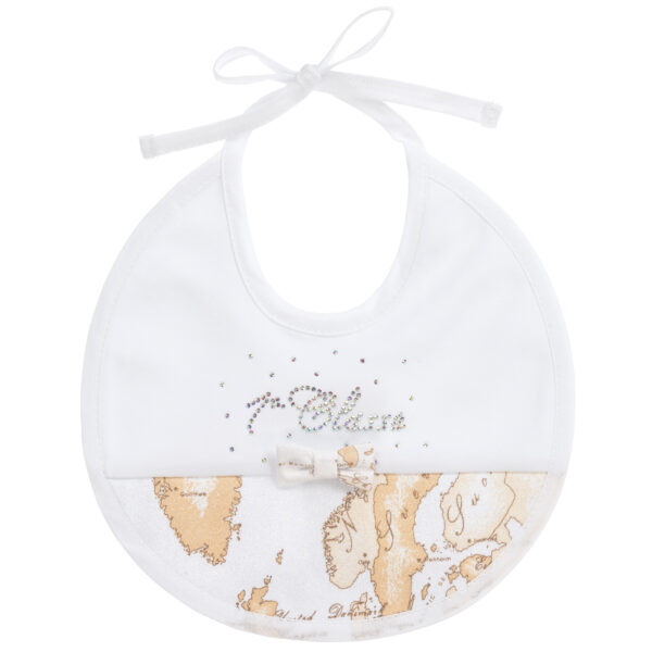 Alviero Martini White-Beige Bib For The Little Ones