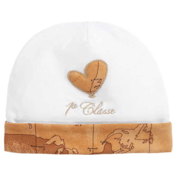Alviero Martini White Hat For Babies With A Heart