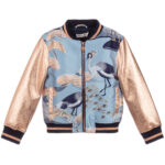 Angel's Face Blue Bomber Jacket With Gold Sleeves