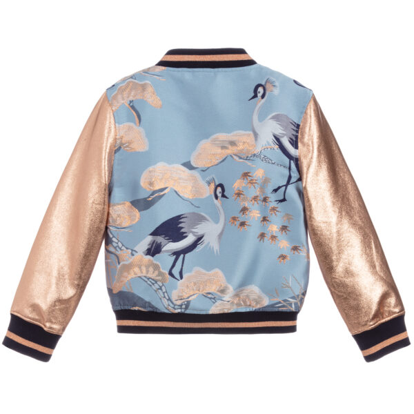 Angel's Face Blue Bomber Jacket With Gold Sleeves 2