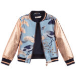 Angel's Face Blue Bomber Jacket With Gold Sleeves 3