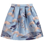 Angel's Face Designer Blue Skirt With Birds